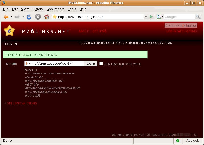 OpenID Login - Step 1 - IPv6Links.net