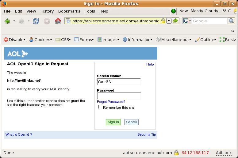 OpenID Login - Step 2 - AOL' 'OpenID Login - Step 2 - AOL