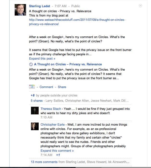 Google+ conversation