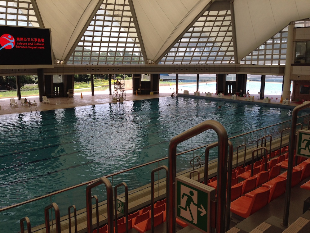 Working in the spectator stands at Tung Chung Swimming Pool, Hong Kong