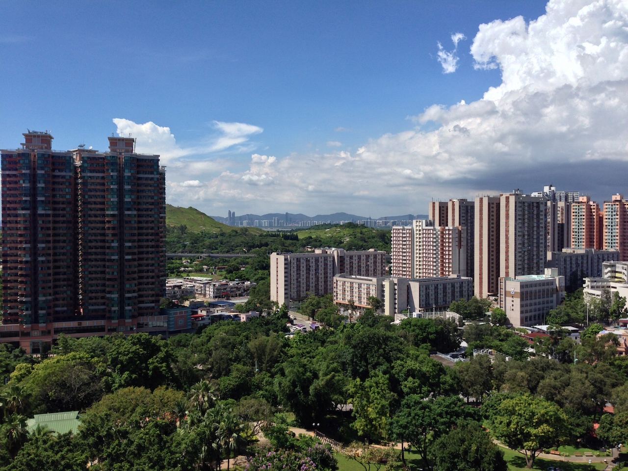 View from Yuen Long Park pagoda - Shenzhen in the distance