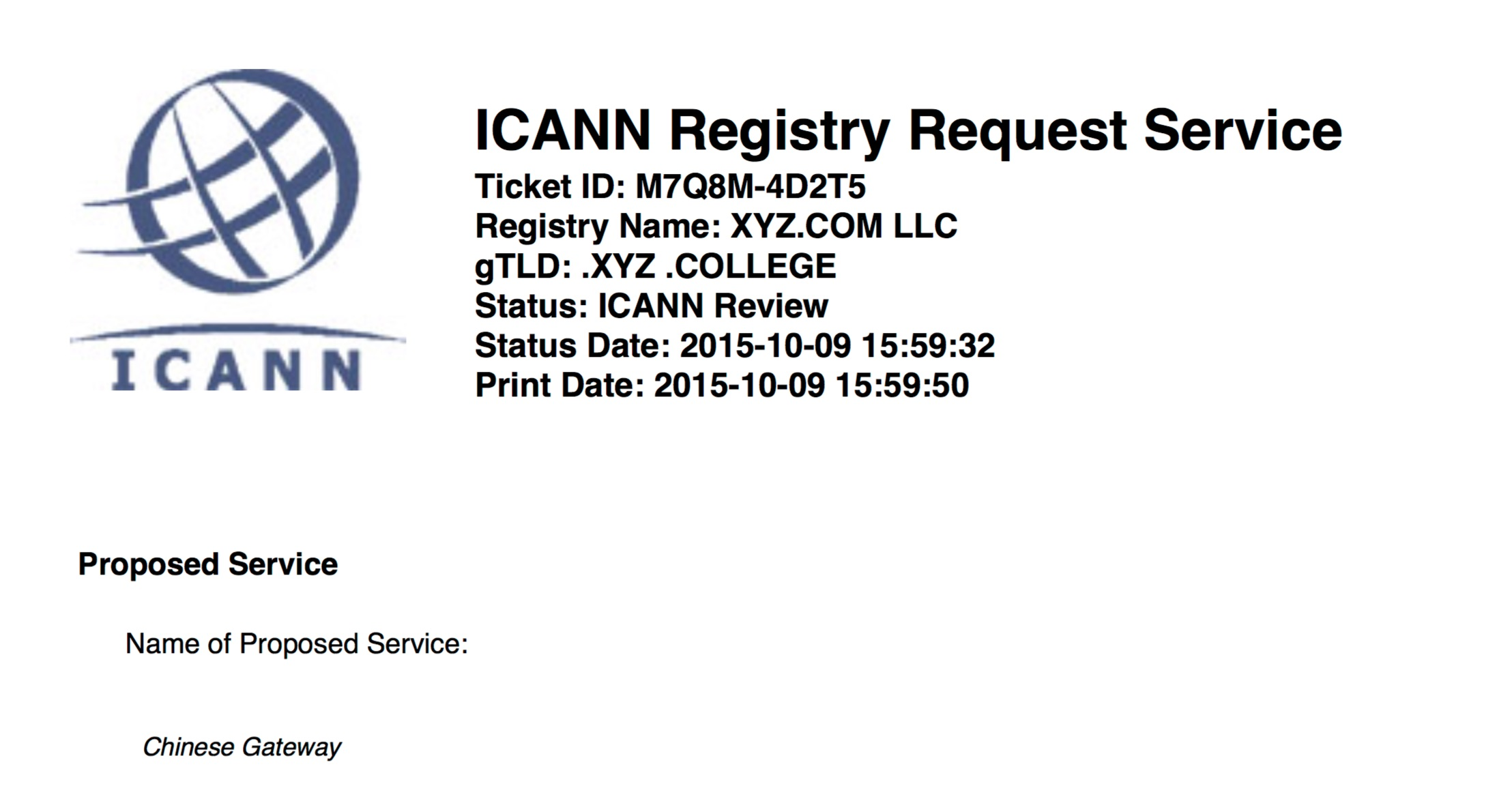 XYZ's ICANN proposal