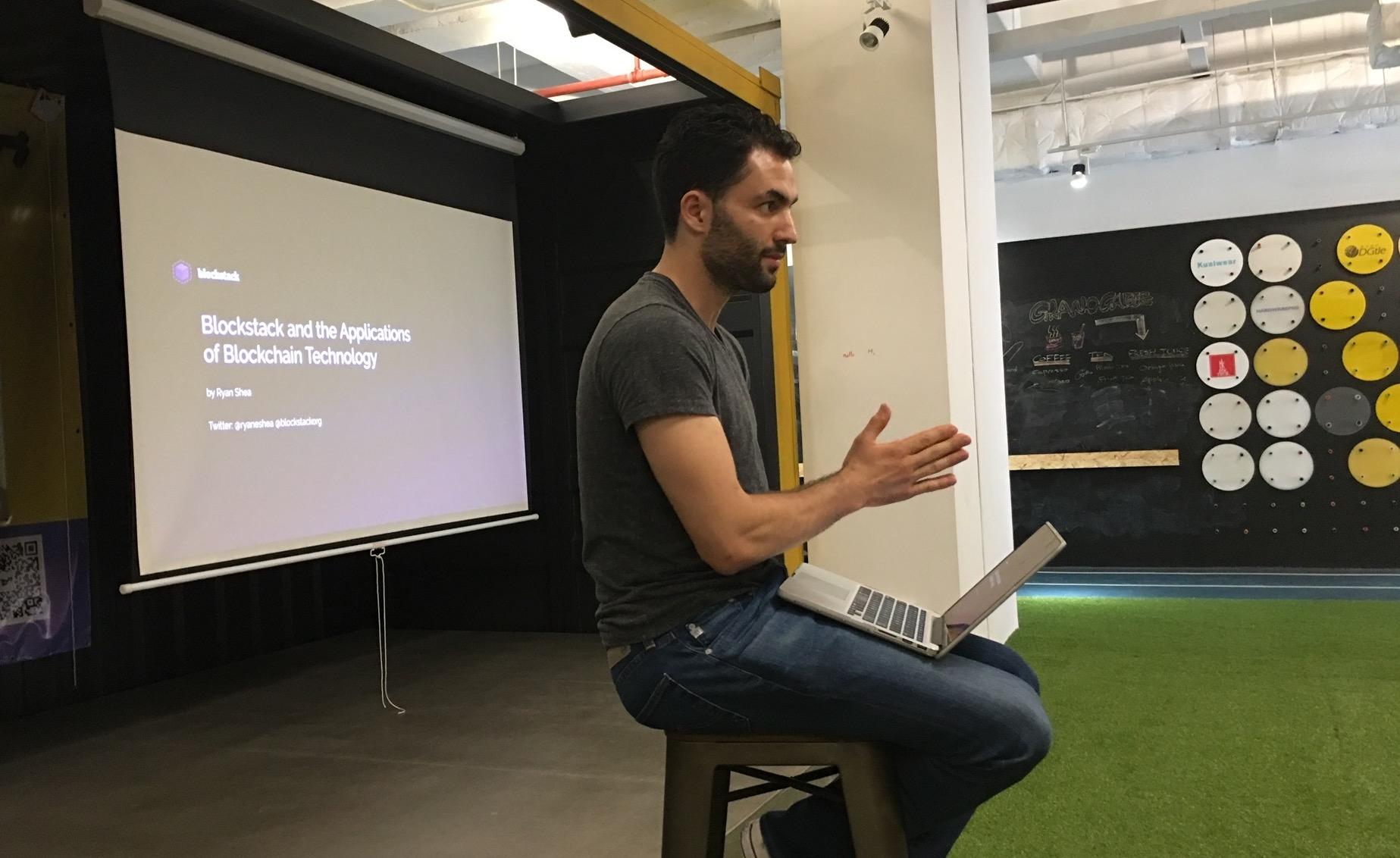 Ryan Shea delivering his intro to Blockstack talk
